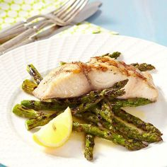 Grilled Mahi-Mahi & Asparagus with Lemon Butter Recipe - Instead of cooking spray we use virgin olive oil! Grilling Recipes, Fish Recipes, Seafood Recipes, Dinner Recipes, Cooking Recipes, Recipies, Cod Recipes, Tilapia Recipes, Dinner Ideas