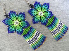 Huichol Flower Earrings Blue Green