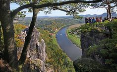 Aussichtspunkte der Bastei mit Blick auf die Elbe. Dresden, Beautiful Places, Germany, Wanderlust, World, Travel, Outdoor, Landscapes, Environment
