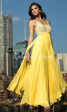 A-ligne bretelles spaghetti Strap mousseline Robes de bal jaune