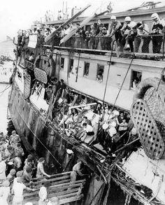 A Haganah refugee ship Exodus-1947 impounded by the British at Haifa - July 1947.