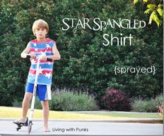 Easy DIY ~ Star Spangled shirt using freezer paper and spray paint
