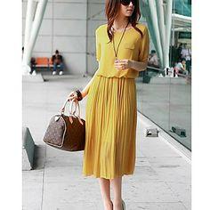 Women's Spring Short Sleeve Chiffon Dress – USD $ 23.39