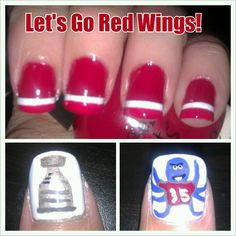 {Detroit Red Wings} NHL Stanley Cup Playoffs 2013 hockey nails by Smashley