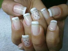 Triple lined French manicure with glitter and diamond pattern Shellac Nails, Manicure And Pedicure, Acrylic Nails, Cute Nails, Pretty Nails, Gorgeous Nails, Hair And Nails, My Nails, Bio Sculpture Gel Nails