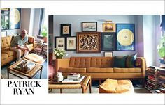 Furnishings can help set the stage for a masculine gallery wall display. Here, a mid-century modern sofa is the perfect complementary piece to the art on the wall. Living Room Decor, Living Spaces, Living Rooms, Work Spaces, Diy Home, Home Decor, Classic Furniture, Wonderwall, Eclectic Decor