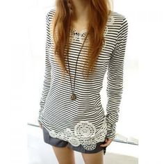Wholesale Lace Splicing Stripe Long Sleeves Casual Style Cotton Blend T-Shirt For Women (STRIPES,ONE SIZE), Women's T-shirts - Rosewholesale.com