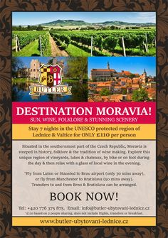 Book now! 7 nights at Butler accommodation for per person. Holiday Accommodation, Wine Making, Czech Republic, Butler, Scenery, Explore, History, Night, Book