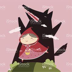 Cappuccetto rosso lupo e nero illustrazione royalty-free
