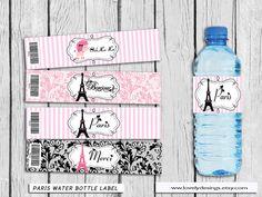 Paris Water Bottle Label Eiffel Paris party by LovelyDesings Paris Party, Paris Theme, Paris Bridal Shower, Merci Paris, Paris Birthday, Printable Banner, Water Bottle Labels, Party Supplies, Etsy