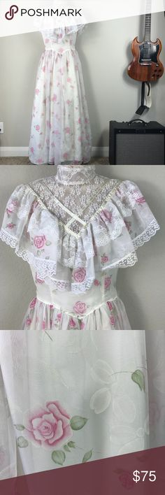 Vintage Gunne Sax floral lace ruffle prom dress Vintage Gunne Sax by Jessica McClintock creaming White and pink floral tired ruffle prom dress with lace high neck collar and buttons up the the neck in the back. Drop dead gorgeous. Use it for a Halloween costume as a Southern Belle and then wear later with cowboy boots at a cool concert Austin style. Small spot on lace shown in pics. Vintage Dresses