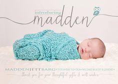 Geburt Ankündigung junge Mädchen Foto Baby von babybaloo auf Etsy