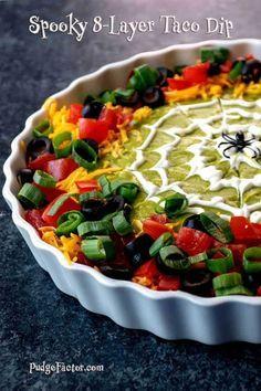 Halloween Appetizers For Adults, Halloween Food For Party, Appetizers For Party, Halloween Treats, Appetizer Recipes, Snack Recipes, Party Recipes, Easy Halloween, Halloween Taco Dip