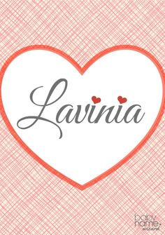 """Lavinia: Meaning, origin, and popularity of the name. Lavinia is a flowing, gorgeous Victorian choice that just begs us to dot its """"i""""s with tiny hearts. This name is besties with Olivia but has experienced none of her success. And Lavinia has a surprising history with namesakes from Roman mythology, Shakespeare, and even Downton Abbey. For those turned off by the nickname Vinnie, Linnie is another possibility."""