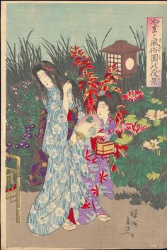 Toyohara Chikanobu Scene of a Flower Gargen at Night - 園花夜景