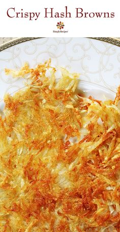 Crispiest Hash Browns ever! The trick? Get as much moisture out of those potatoes as you can before you fry them. On SimplyRecipes.com #ComfortFood