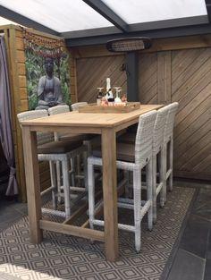 Gartenbar Set Mit Einem Bartisch Aus Teakholz Und Barstühlen Aus Polyrattan  #gartenmöbel #gartenbarset