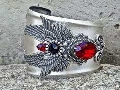 Steampunk Gothic Cuff Bracelet with Swarovski Crystals and Wings / Gothic Jewelry by AppleBite Jewelry, €115.00 EUR