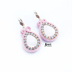 Items similar to Powder pink- soutache earrings ! on Etsy Soutache Earrings, Crochet Earrings, Drop Earrings, Plastic Canvas Tissue Boxes, Plastic Canvas Patterns, Gold Bridal Earrings, Polymer Clay Charms, Powder Pink, Beading Tutorials