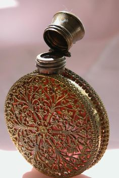 French Perfume/ Scent Bottle w/ Cranberry Glass and Filigree Cover  Perfume…