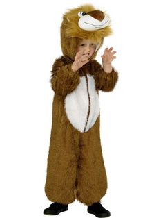 Lion costume for children: Lion costume for children including a brownand white jumpsuit and the hood fastened with with a zip located on the front(shoes not included).Soft and pleasant to wear this costume will turn your. Lion Fancy Dress Costume, Costume Lion, King Costume, World Book Day Costumes, Book Week Costume, Childrens Fancy Dress, Fancy Dress For Kids, Dress Up Outfits, Kids Outfits
