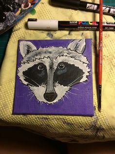 Racoon canvas 10 x 10, made with posca paint markers and acyrlic paint