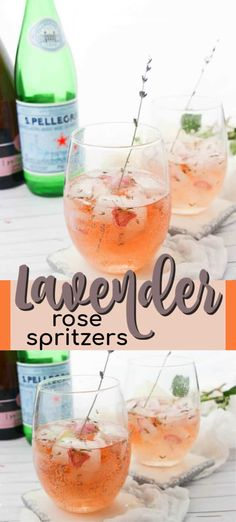 Lavender Rose Spritzer: made with fresh lavender, rose petals and rosé! Perfect for brunch or bridal showers! Batch Cocktail Recipe, Best Cocktail Recipes, Drink Recipes, Bridal Shower Drinks, Bridal Showers, Summer Cocktails, Cocktail Drinks, Cold Drinks, Beverages