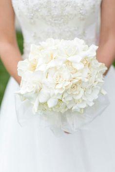 "BEAUTIFUL ""Ballerina"" Style Wedding Bouquet Featuring: White Hydrangea & White Gardenias Hand Tied With White Silk Organza~~"