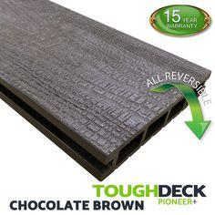 Chocolate Brown Wood Grain WPC Decking Board - Pioneer+ Decking Planks, Wpc Decking, Hardwood Decking, Composite Decking, Decking Boards, Pioneer Decks, Decking Supplies, Deck Cost, Wood Grain Texture