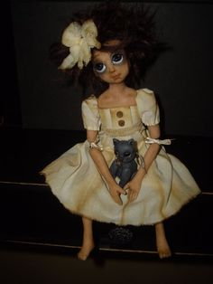 OOAK jointed hand sculpted polymer clay doll & kitty cat Toodlesocks