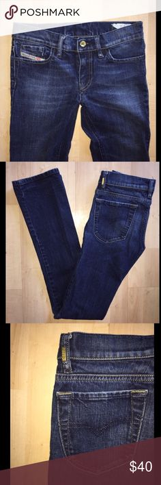 """Diesel Straight Leg Jeans Great condition Diesel brand jeans for ladies. Great blue wash color, simple pockets, excellent condition. 25 x 30 with 7.5"""" rise. Diesel Jeans Straight Leg"""