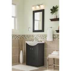 Style Selections Euro Vanity Espresso Belly Bowl 1 Bathroom With Vitreous China Top Common 24 In X 17 Actual At Lowes