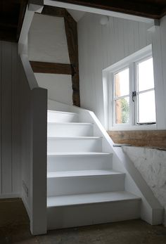 A single winder softwood staircase. Our customer has chosen to paint the stairs white giving the cottage a nautical feel. Painted Stairs, Nautical, Twin, Cottage, Calm, Bedroom, Elegant, Home Decor, Navy Marine
