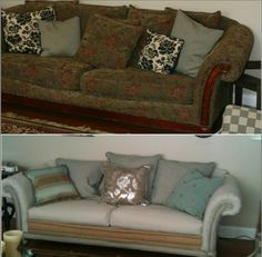"""I completely made over a $25 thrift store sofa with burlap, canvas drop cloths, upholstery tacks, and paint!  I was inspired by Restoration Hardware's """"Deconstructed"""" line, but mine cost under $300 total!"""