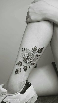Vintage Rose Leg Tattoo Ideas for Women - Traditional Black Flower Calf Tat - www.MyBodiArt.com #tattoos