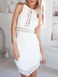White Sleeveless Hollow Dress