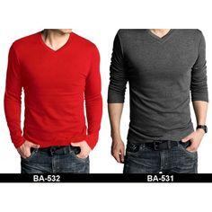 Buy Pack of 2 full v-neck t-shirts Red & Dark Grey online in Pakistan | Buyon.pk