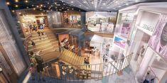 Benoy Architecture, Interior Architecture, Shopping Mall Interior, Shopping Malls, Commercial Interior Design, Commercial Interiors, Steel Railing Design, Mall Design, Chengdu