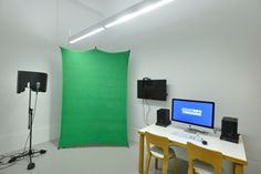A recording booth and green screen will be used for podcasts, oral history projects, and other endeavors at the BPL's new information commons.