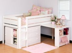 Canwood Whistler Junior Loft Bed.  Sold at Walmart/Amazon/etc. approx $600.  Bed has decent reviews, drawers/desk do not.  Available in 4 finishes(white, natural, cherry, espresso