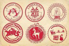 Новогодние печати, штампы, печать Деда Мороза