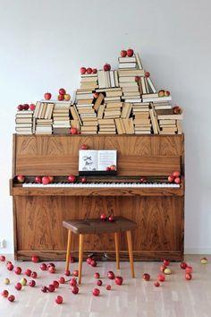 Books and piano <3 http://pinterest.com/cameronpiano