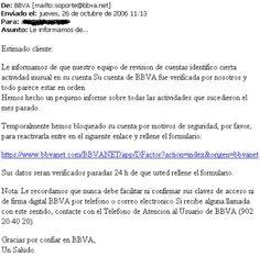 Ataque phishing y robo de identidad a clientes del BBVA.