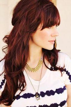 Frangia folta per capelli lunghi e mossi color rosso scuro