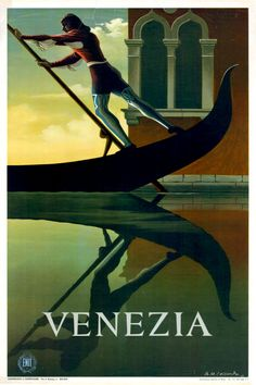 Vintage Venezia Venice Italy Italian Travel Tourism Poster Re-Print Retro Poster, Poster Vintage, Vintage Travel Posters, Art Deco Posters, Poster Prints, Poster Wall, Modern Posters, Bronze Art, Vintage Films