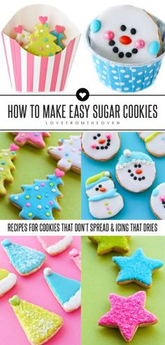 How To Make Easy Sugar Cookies. A great sugar cookie recipe that doesn't spread, a wonderful icing that dries firm to the touch but isn't royal icing and wonderful tips and tricks!  The perfect sugar cookies for Christmas!