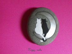 Cats and a sliver of moon #rock painting