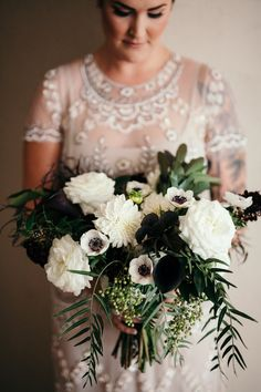 Flowers by Lace and Lilies, dark and moody bridal bouquet, Dahlia, Garden Rose, Anemone, Calla Lily, Hanging Pepper Berry foliage