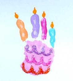 Cute - use your child's hand to make a cake for a birthday card or remember the siz of their hand on their birthday