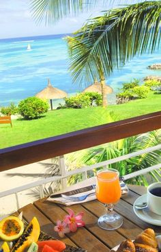 Tropical fruit with a tropical view...does it get any better!
